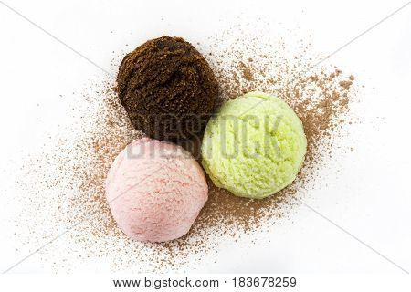 Ice cream scoops isolated on white background.Top view