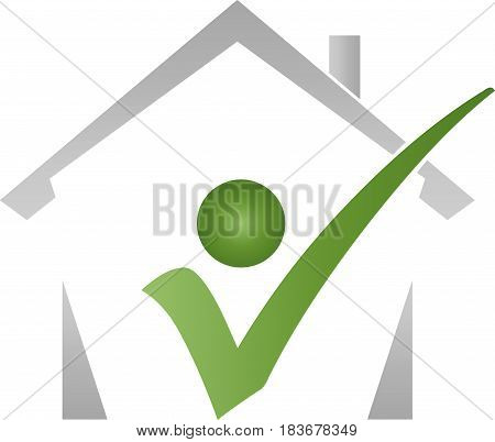 House and a person, real estate and real estate check logo