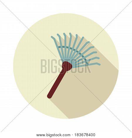 Garden rake flat vector icon outline isolated eps 10
