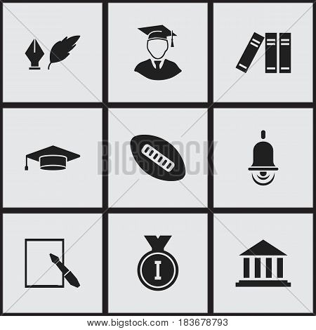 Set Of 9 Editable University Icons. Includes Symbols Such As Bookshelf, Museum, Literature And More. Can Be Used For Web, Mobile, UI And Infographic Design.