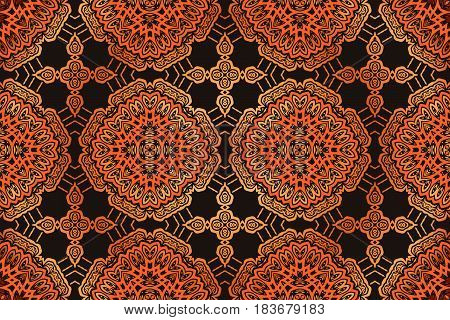 Abstract vector design seamless decorative pattern Orient textile print. Ethnic tribal Vector brown and red damask lace floral ornament
