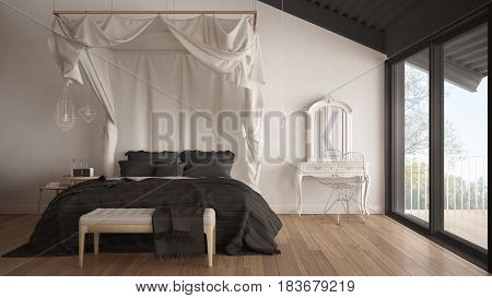 Canopy bed in minimalistic white and gray bedroom with big window scandinavian classic interior design, 3d illustration