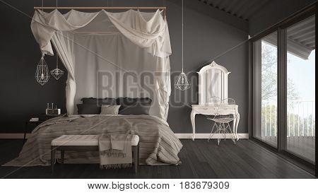 Canopy bed in minimalistic gray bedroom with big window scandinavian classic interior design, 3d illustration
