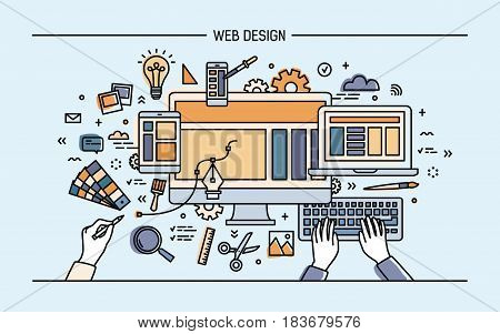 Web development, line art banner. site with responsive design. colorful flat vector illustration