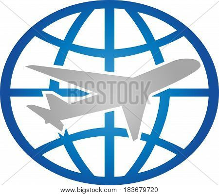 Airplane and globe, airplane and transport logo