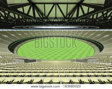 3D Render Of A Round Australian Rules Football Stadium With  Green Gray Seats And Vip Boxes