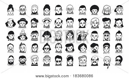 Big set of people avatars for social media, website. Doodle portraits fashionable girls and guys. Trendy hand drawn icons collection. Black and white vector illustration