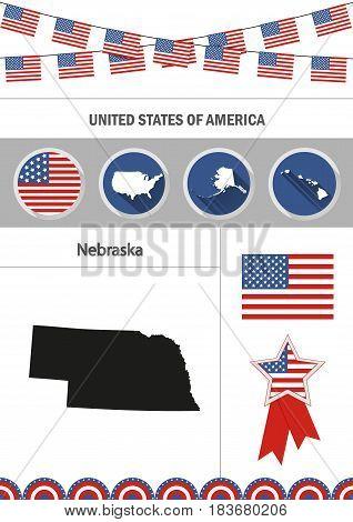 Map of Nebraska. Set of flat design icons nfographics elements with American symbols.