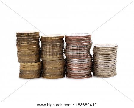 Large stack of coins on a white background
