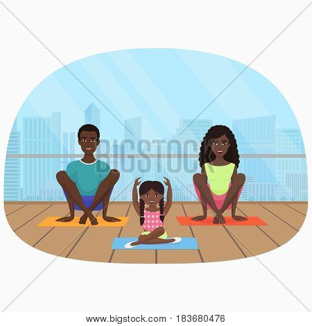 Vector illustration of the black african family meditating in fitness room on the modern city background