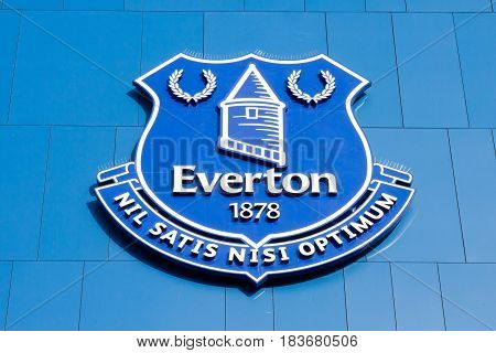 LIVERPOOL, ENGLAND - APRIL 1, 2017: Logo in the Goodison Park stadium home of Everton Football Club. The stadium name comes from the abridgation of