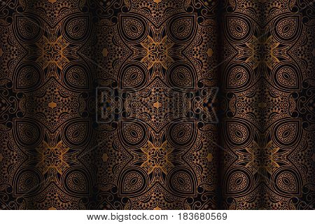 abstract background of openwork vintage bronze color wavy openwork curtain pattern style baroque