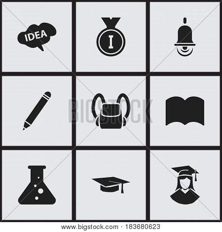 Set Of 9 Editable University Icons. Includes Symbols Such As Chemistry, Schoolbag, First Place And More. Can Be Used For Web, Mobile, UI And Infographic Design.