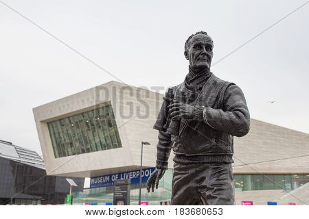 Liverpool, England - April 3, 2017: View of the Museum of Liverpool and statue of the Capitain Frederic John Walker in the Pier Head.The officer was a anti-submarine warfare commander in World War II.
