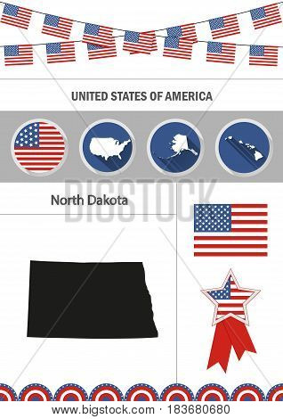 Map of North Dakota. Set of flat design icons nfographics elements with American symbols.