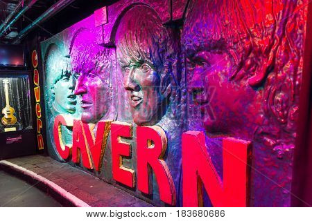 Liverpool, England - April 2, 2017: The Beatles image in a wall in the Cavern Club. The venue is famous because the band played in the club in their early years.