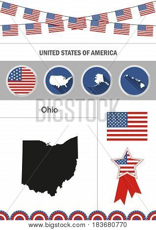 Map of Ohio. Set of flat design icons nfographics elements with American symbols.