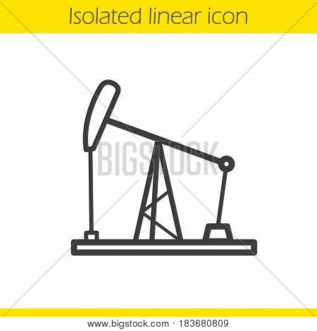 Oil derrick linear icon. Thin line illustration. Oil pump jack contour symbol. Vector isolated outline drawing