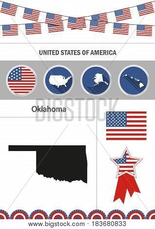 Map of Oklahoma. Set of flat design icons nfographics elements with American symbols.