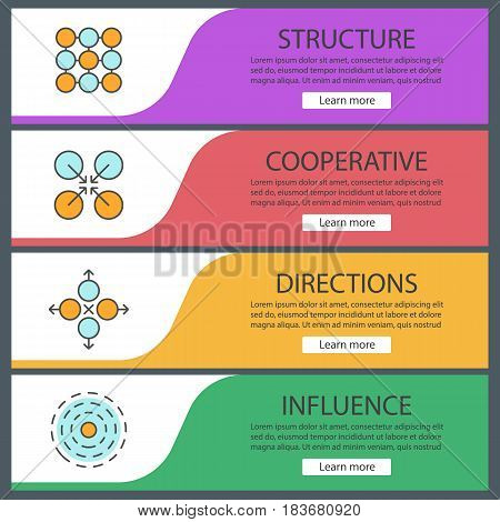 Abstract symbols web banners templates set. Structure, cooperative, directions, influence. Vector headers design concepts