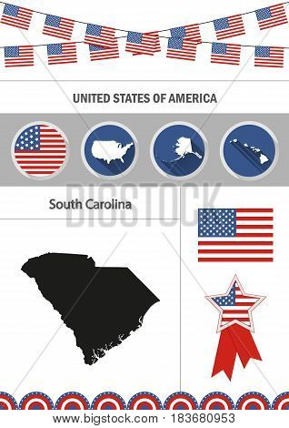Map of South Carolina. Set of flat design icons nfographics elements with American symbols.