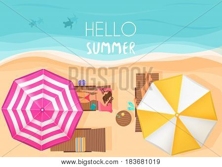 People relaxing by the ocean with hello summer words. Vector illustration. Exotic summer vacation top view