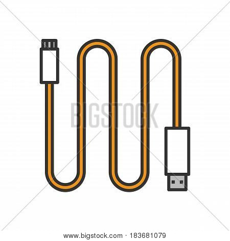 Mini USB cable color icon. Isolated vector illustration