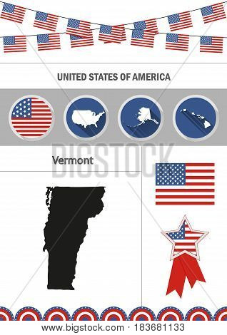 Map of Vermont. Set of flat design icons nfographics elements with American symbols.