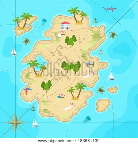 Cartoon tropical island in ocean. Top view exotic island map. Vector game design for app