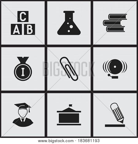 Set Of 9 Editable School Icons. Includes Symbols Such As Alphabet Cube, Staple, Writing And More. Can Be Used For Web, Mobile, UI And Infographic Design.
