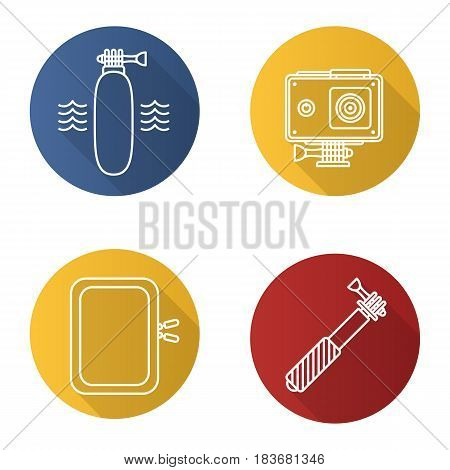 Action camera flat linear long shadow icons set. Floating grip, gadget protective case, monopod. Vector line illustration