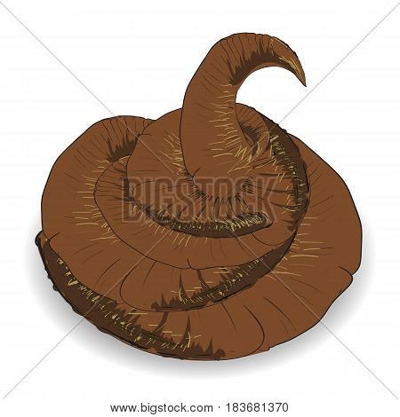 Brown Excrement Icon Isolated on White Background.