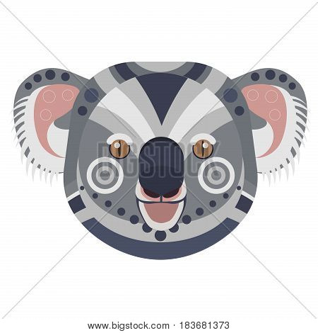 Koala Head Logo. Exotic bear vector decorative emblem isolated