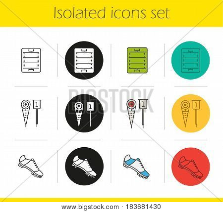 American football icons set. Linear, black and color styles. Player's shoe, sideline markers, field. Isolated vector illustrations
