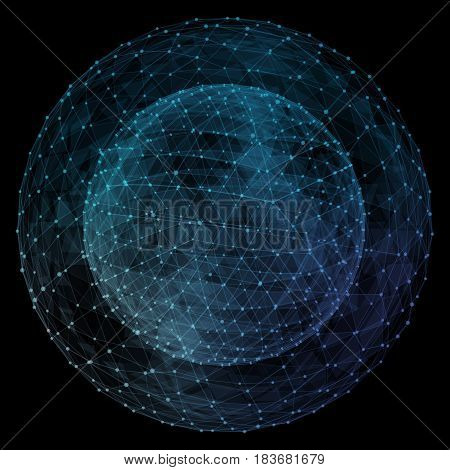 Abstract blue network globe. Technology concept of global communication.