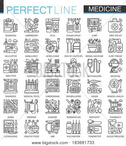 Medical outline concept symbols. Perfect thin line icons. Healthcare modern linear style illustrations set
