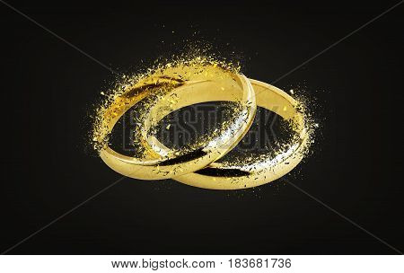 Old wedding rings Shattering on black background