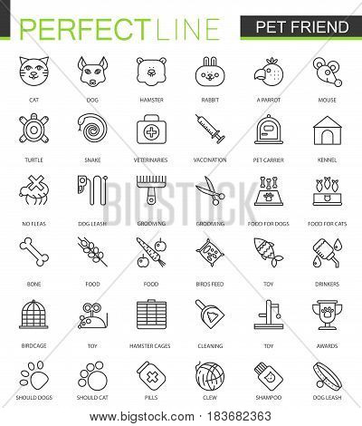Pet friend thin line web icons set. Pet shop outline icon design