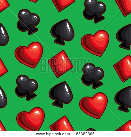 Vector seamless texture made with hearts, diamonds, spades, clubs signs on dark background