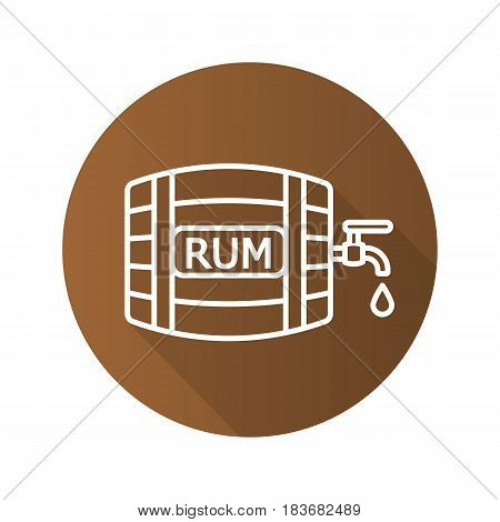 Rum wooden barrel. Flat linear long shadow icon. Alcohol barrel with tap and drop. Vector line symbol