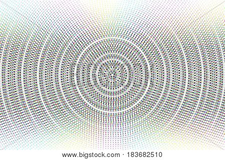 Abstract vector circle glitched background. Damaged screen image. Halftone effect
