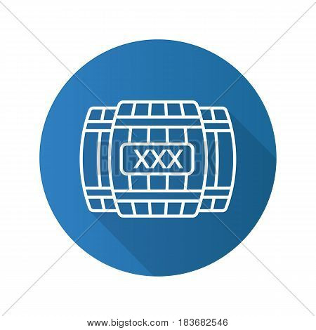 Alcohol wooden barrels. Flat linear long shadow icon. Whiskey or rum barrels with xxx sign. Vector line symbol