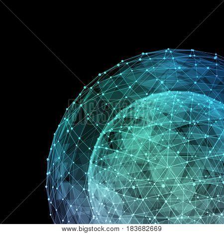 Global network internet technologies. Digital 3d illustration.