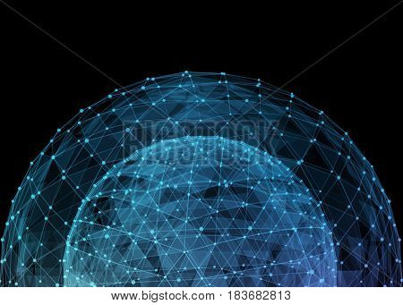 Abstract network globe. Technology concept of global communication. 3d illustration