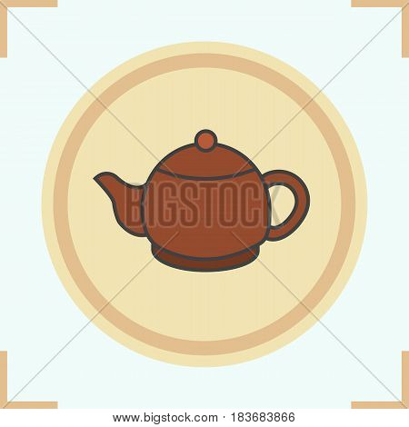 Teapot color icon. Clay tea pot. Isolated vector illustration