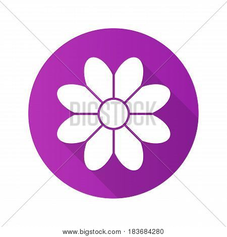 Camomile flat design long shadow icon. Flower. Vector silhouette symbol