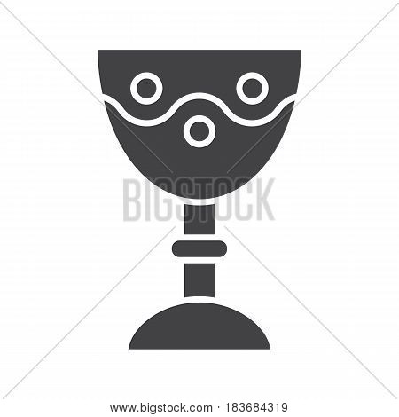 Church goblet glyph icon. Chalice silhouette symbol. Holy water bowl. Negative space. Vector isolated illustration