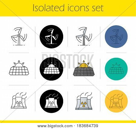 Environment protection icons set. Linear, black and color styles. Wind mill, solar panels, industrial factory. Isolated vector illustrations