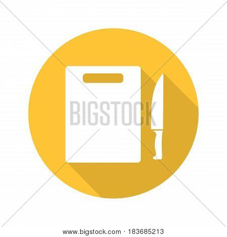 Cutting board with knife. Flat design long shadow icon. Vector silhouette symbol