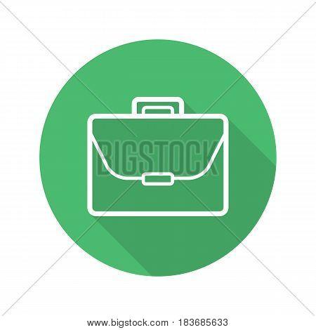 Briefcase flat linear long shadow icon. Portfolio. Laptop bag. Vector line symbol
